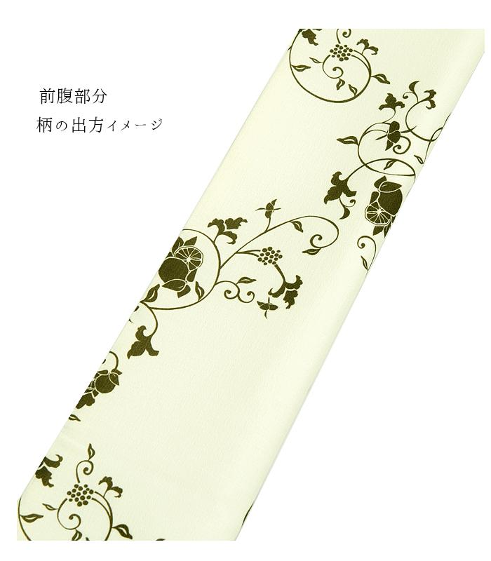 【お仕立て済み】都粋オリジナル 東レシルジェリー 染京袋帯(クリーム地に蔦)